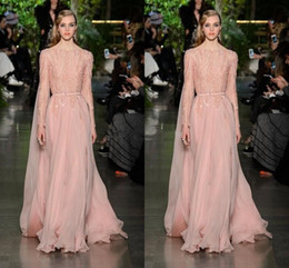 Barato Elie Saab Novo Sexy-Luxo Elie Saab Evening Dress Blush Novo 2016 Bateau Neck Full Sleeves Sequins Beaded Chiffon Long Celebrity Prom Dresses Vestidos Formal Sexy