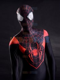 Female Spandex Costumes Canada - 2015 3D Printing Ultimate Miles Morales Spider-Man Costume spandex fullbody halloween cospaly spiderman zentai suit hot sale free shipping