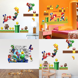 Wall Stickers For Boys Rooms Canada - HOT SALE New Super Mario bros Boy Room Kids Room Nursery Art Decal Wall Stickers Home Decor Wall Stickers For Kids Rooms