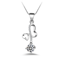 $enCountryForm.capitalKeyWord UK - Free shipping fashion high quality 925 silver Heart-shaped White diamond jewelry 925 silver necklace Valentine's Day holiday gifts Hot 1690