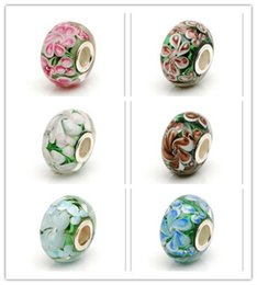 millefiori murano bracelet Australia - 6kinds S925 sterling silver glass beads big hole multicolor Murano glass flowers for the European DIY jewelry charm bracelets and pendants