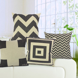 Car Sofa Couch Canada - Black and White sofa couch car office deco set cotton linen Cushion Covers 5 Patterns Stripe Pillow Cases Home Bedroom Decoration
