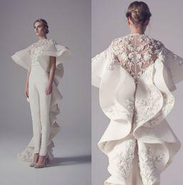prom dresses short cut 2019 - Saiid Kobeisy 2019 Evening Dresses Jewel Neck Embroidery Jumpsuits Prom Dress Sheath Sweep Train Special Cut New Formal