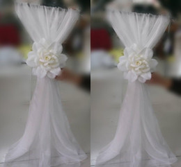 Red chaiR events online shopping - Fashion Sample Wedding Chair Sashes Supply Chair Ribbon Gauze Back Sash Back Of The Chair Back Decoration Party Formal Event Accessory