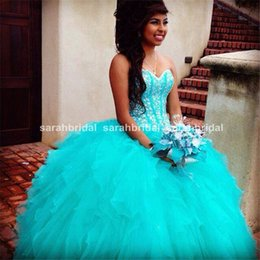 Barato Espartilho Quinceanera Vestidos-Sweet Sixteen Quinceanera Dresses Corset Princess Vestidos de baile com strass Lace up Turquoise Ruffled Pageant Plus Size Prom Dresses 2015