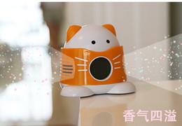 Lcd Display Screen Backlight Canada - Orange Color Cartoon Cat Aroma Heater LCD Display Screen Digital Clock Aroma Diffuser Humidifier difusor de aroma Alarm