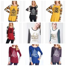 Chinese  T-Shirt Christmas Women Xmas Tops Elk Deer Shirts Xmas Letter Striped Tees Casual Santa Claus Blouse Fashion Long Sleeve Shirts KKA3549 manufacturers