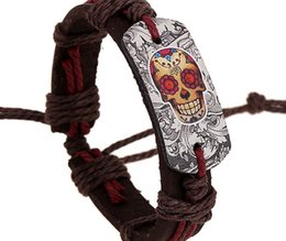 Discount style bracelet alloy - 2015 latest version punk style 100% genuine leather bracelet handmade Alloy men skull rope adjustable bracelet 20pcs lot