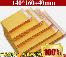 Discount yellow film wrap - Yellow kraft paper Envelopes Air Mail Air Bags Packing Bubble Cushioning Padded Envelopes Wrap 160mm*140mm 6.29*5.5inch