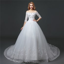 shanghai pearls Canada - Shanghai Story Off Shoulder Lace Train Wedding Gown With Bow For Bridal 2016