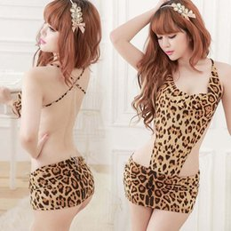 Mini Poupée Lingerie Pas Cher-Gros-2015New Exotique Hot Sexy LingerieHot Femmes Bady Doll Sexy Leopard Lingerie Sous-vêtements Pyjamas Backless Mini-robe Teddies