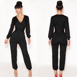 blue long sleeves women jumpsuit Australia - 2014 New Fashion Women Long Sleeve Spring Sexy Bodycon Jumpsuit Black White Red Blue Bandage Club Romper Jumpsuit Pants DR033