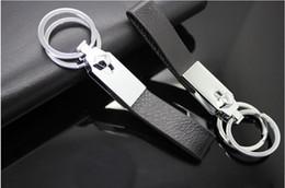 $enCountryForm.capitalKeyWord Canada - Fashion Double Loops Black Leather Strap Keyring Keychain Key Chain Ring Key Fob Keychains through Waist Belt