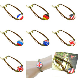 Wholesale 2015 Vintage Time Gemstone Bracelets Brand Bangle Jewelry Cabochon Pendant Leather Bracelet Butterfly Eiffel Tower Flags Trees Design