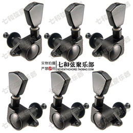 Discount acoustic guitar tuner keys - A Set 6 PCS GROVER Guitar String Tuning Pegs keys Tuners Machine Heads for Folk Acoustic Electric Guitar. - Black - GR-T