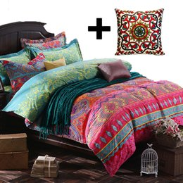 Boho Bohemia National Exotic Style Cotton Brushed Duvet Cover Sets Geometry  Stripe Sheet Sets Baroque Style Printing Bedding Set