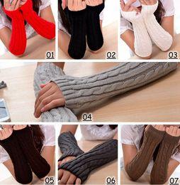 2016 Winter Frauen Warm Gestrickte Plaid Handschuh Lange Handschuhe Half Finger Handschuhe Hand Handgelenk Fingerlose Handschuhe Warm Cuff Arm Ärmel 7colors