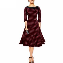 2016 New Women Retro Polka Dot Vintage 50s Swing Dress Bow Elegant 2 3 Sleeve Ladies Rockabilly Formal Prom Evening Party Dresses