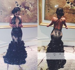 Barato Halter Preto Do Comprimento Do Assoalho-2017 Sexy Black Halter Mermaid Prom Dresses Sexy Backless Prom 2K17 Tulle Appliques Floor Length Party Evening Dresses