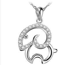 $enCountryForm.capitalKeyWord NZ - 2015 auspicious Year of the Lucky Goat 925 sterling silver pendant China tranditional zodiac sheep crystal woman jewelry