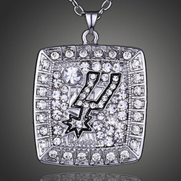 Wholesale 2015 Summer style Fashion Jewelry N B A Spurs Basketball Championship Pendant Sport Necklace For Men Fans Loves jewelry