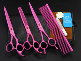 Pet Hair Salon Canada - 7'' Hairdressing Scissors 62HRC JP 440C Stainless Steel Pet Hair Cutting Thinning Shears 4Pcs Set With Bag Pink High Quality