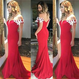 Barato Vestido De Baile De Finalista Vermelho Chiffon Longo-Elegante Off the Shoulder Prom Dress Appliques Long Formal Red Mermaid Prom Dresses Evening Party Gowns com trem de varredura