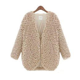 Barato Casaco De Casaco De Lã-Venda Por Atacado-Inverno Queda Womens Fluffy Coat Shaggy Faux Fur Cape Jacket Elegante Outwear Cardigan Tops Wool Warm Outfit Overcoat