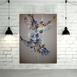 Best Canvas Wall Decor Canada - 100%Handpainted Oil Painting Beautiful Birds Paintings on Canvas Modern Art Best Gift Abstract Wall Art Pictures Home Decor