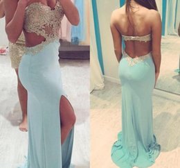 Barato Corte De Sereia Corte Lados-2018 Mint Green Mermaid Prom Dress com Slit Side Cut Outra querida Sexy Party Dresses Beaded Appliques Vestidos Backless Party Evening Gown