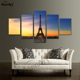 paris canvas prints Australia - 5 Pieces Picture Painting Paris City Landscape Pictures Eiffel Tower Decoration Wall Art Canvas Print Framed Ready to Hang Dropshipping