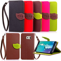 Samsung Grand Wallet Case Canada - Leaf Wallet PU Leather Pouch Case Stand TPU Cover With Card Slots For Samsung Galaxy Grand Core Prime G360 G530 J1 S6 Edge Plus Note 5 4