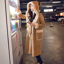 $enCountryForm.capitalKeyWord NZ - New Women's Suede Fur Coat Winter 2017 Autumn Fashion Loose Hooded Plus Velvet Thicken Long Faux Lamb Fur Coat Suede Outerwear