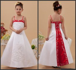 Barato Tiras De Espaguete Vestido De Contas Brancas-2016 New White and Red Flower Girl Dresses Spaghetti Straps Beaded Embriodery Satin A-Line Girls Pageant Vestidos Custom Made G39