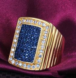 Опт голубой бриллиант бриллиант квадрат золото мужчины ' s кольцо все размер (88) df