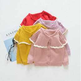 Barato Moda Hot Sweater Cardigan-Everweekend Girls Knitted Ruffles Sweater Cardigan Candy Color Sweet Fashion Roupa de bebê Lovely Children Ins Hot Sel Clothes