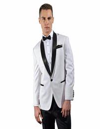 $enCountryForm.capitalKeyWord UK - White Tuxedo With Black Shawl Satin Lapel Beach Mens Wedding Suits One Button Groom Tuxedos Groomsmen Bridegroom(Jacket+Pants)