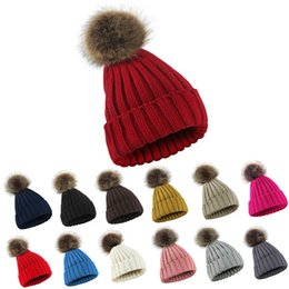 flat hats for women UK - Real Raccoon Fur Ball Winter Hat Cap For Men Women Girl 'S Beanie Warm Pom Poms Cotton Bobble Ski Hat Thick Pompoms Hat