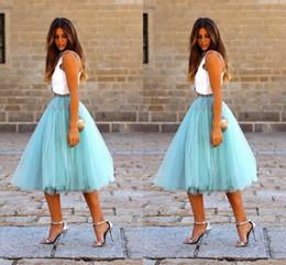 $enCountryForm.capitalKeyWord Australia - Fashion Short Skirts For Women Knee Length Tulle Blue Tutu Skirts Summer Dresses Formal Skirt Custom Made Mini Skirt Maxi Skirt