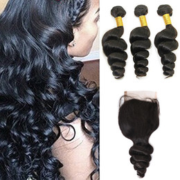 brazilian virgin human hair extensions NZ - Brazilian Loose Wave Hair Weaves 3 Bundles with Closure Free Middle 3 Part Double Weft Human Hair Extensions Dyeable Virgin Hair Weave
