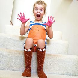 striped knee high socks for kids 2019 - Infant Cotton 3D fox stockings Toddlers Kids Girls Knee High Socks School Cotton Tights Striped Stockings for Girls 1-6