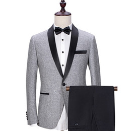 China Gray Wedding Groom Tuxedos 2018 Black Shawl Lapel Trim Fit Mens Suits Custom Made Business Party Groomsmen Suit (Jacket + Pants) suppliers