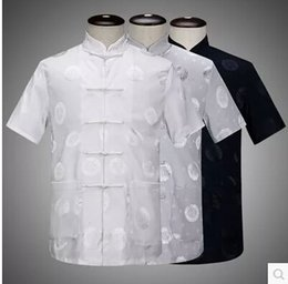 Uniformes Kung Fu Livraison Gratuite Pas Cher-Vente en gros-Livraison gratuite Vêtements chinois traditionnels Vêtements d'homme à manches courtes Martial Arts Kung Fu Uniforme Casual Tang Suit Jacket
