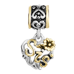 pandora mom UK - Sister Aunt Mom Grandma copper material 22 gold plating dangle charm in two tone plating fit Pandora Chamilia Biagi bracelet