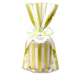 $enCountryForm.capitalKeyWord NZ - 100pcs Luxury gold stamp polka dot striped cookie bag candy packing bag biscuit dessert bags party gift wrapping bags favor supply