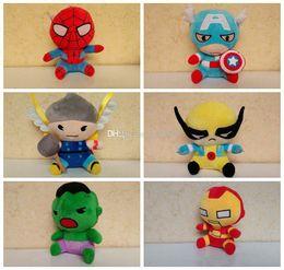 spiderman stuffed animals 2019 - 2015 Avengers 2 Stuffed Animals Plush Toys Iron Man Spiderman American Captain Hawkeye Thor Hulk 6 styles Doll For Child