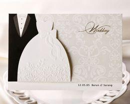 Wholesale Personalized Wedding Invitations Cards Traditional Tuxedo Dress Bride Groom Design DIY Wedding Invitations Cards With Blank Page Printable