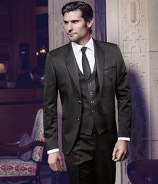 Custom Make Clothes Canada - Brand New Peak Lapel Black Groom Tuxedos Men's Wedding Dresses Prom Clothing Custom Made(Jacket+pants+Vest)NO370