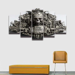 Pictures Decorated Living Rooms NZ - 5 Panel Canvas Painting HD Prints Cool Skull Modular Picture for Home Decoration Living Room Decorate Bedroom