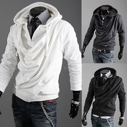 Barato Hoodie Magro Coreano-Men Casual Moda de Nova coreano hooded Heaps Collar Pure Color Cardigan Designer Slim Fit Men Hoodies frete grátis Sweatshirts